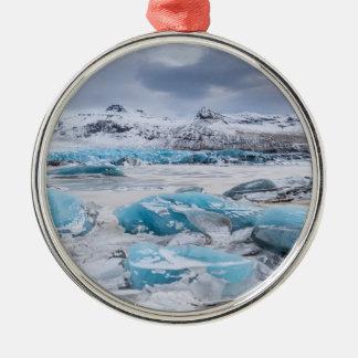Ornement Rond Argenté Paysage de glace de glacier, Islande