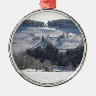Ornement Rond Argenté Paysage de Noël d'hiver
