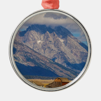 Ornement Rond Argenté Paysage de pays de Teton