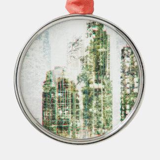 Ornement Rond Argenté Paysage urbain et forêt