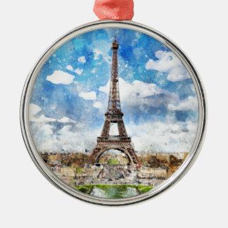 Ornement Rond Argenté Paysage urbain Paris, Eiffel d'aquarelle vers