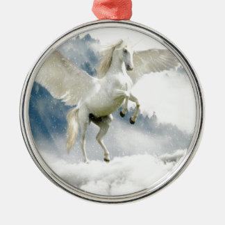 Ornement Rond Argenté Pegasus à cornes