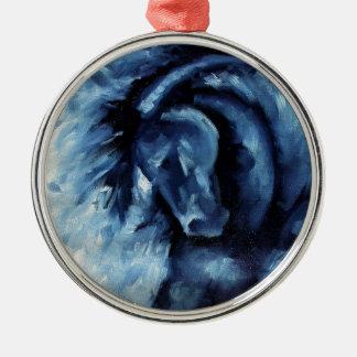 Ornement Rond Argenté Peinture à l'huile bleue de cheval