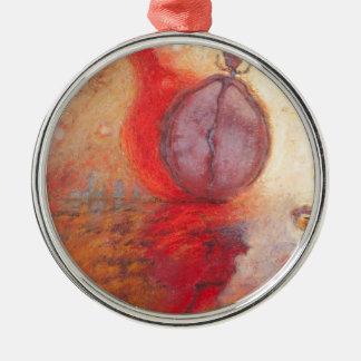Ornement Rond Argenté Peinture à l'huile d'abrégé sur danse du feu