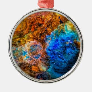 Ornement Rond Argenté Peinture colorée de texture abstraite de pierre