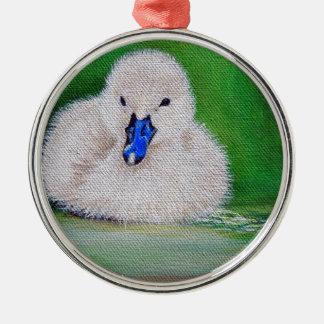 Ornement Rond Argenté Peinture de canard de bébé