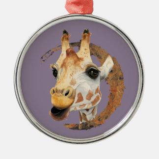 Ornement Rond Argenté Peinture de girafe avec le cadre de cercle d'or de