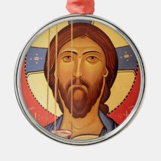 Ornement Rond Argenté Peinture de Jésus