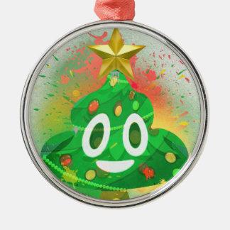 Ornement Rond Argenté Peinture de jet d'arbre de Noël d'Emoji