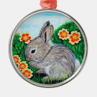 Ornement Rond Argenté Peinture de lapin de printemps