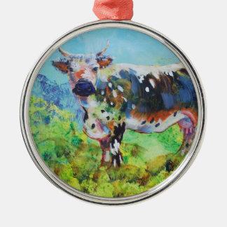 Ornement Rond Argenté Peinture de vache à Randall Lineback