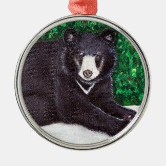 Ornement Rond Argenté Peinture d'ours noir