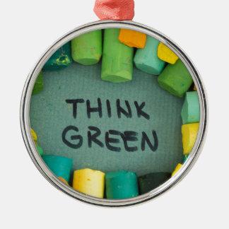 Ornement Rond Argenté Pensez le vert, concept d'écologie