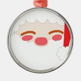 Ornement Rond Argenté Père Noël 1