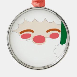 Ornement Rond Argenté Père Noël 2