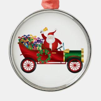 Ornement Rond Argenté Père Noël ; Claus ; cru ; vieux ; voiture ; moteur