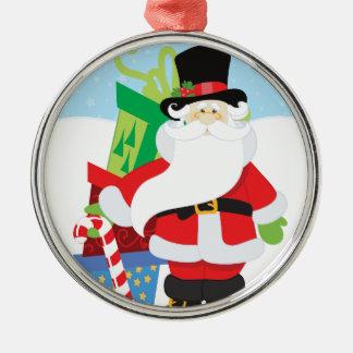 Ornement Rond Argenté père Noël dans le tophat par la pile de presentts