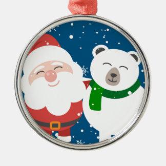 Ornement Rond Argenté Père Noël et l'ours