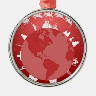Ornement Rond Argenté Père Noël Sleigh et vol de renne autour du monde