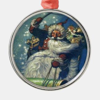Ornement Rond Argenté Père Noël vient à la ville