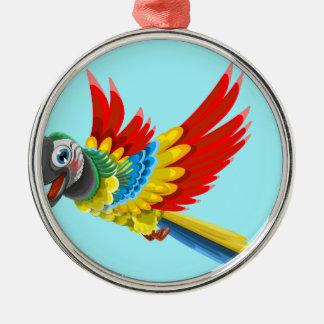 Ornement Rond Argenté perroquet