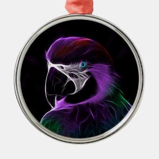 Ornement Rond Argenté perroquet #2