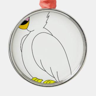 Ornement Rond Argenté perroquet #3