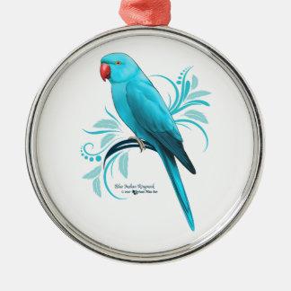 Ornement Rond Argenté Perroquet bleu de Ringneck d'Indien