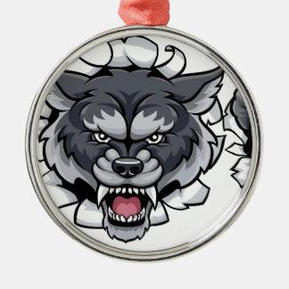 Ornement Rond Argenté Personnage de dessin animé de loup