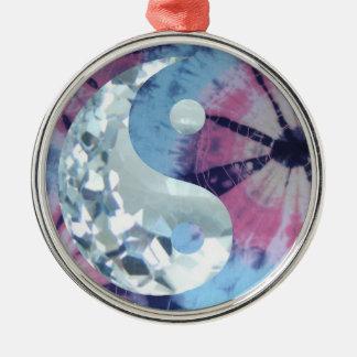 Ornement Rond Argenté Persuasion bleue en cristal Yin et Yang