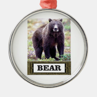 Ornement Rond Argenté petit animal d'ours dans l'art