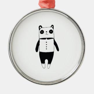 Ornement Rond Argenté Petit panda noir et blanc