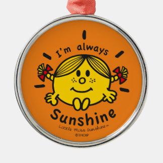 Ornement Rond Argenté Petite Mlle Sunshine   je suis toujours soleil
