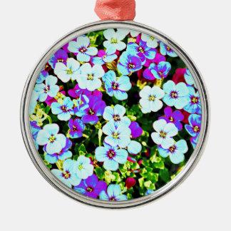 Ornement Rond Argenté Petites fleurs colorées
