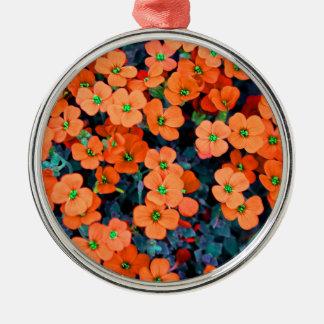Ornement Rond Argenté Petites fleurs oranges