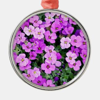 Ornement Rond Argenté Petites fleurs pourpres