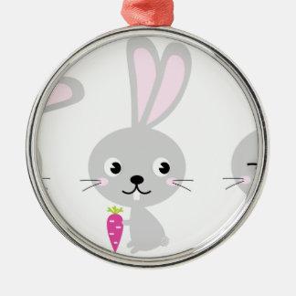 Ornement Rond Argenté Petits lapins mignons gris