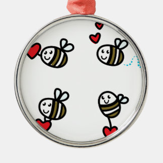 Ornement Rond Argenté Peu d'abeilles de vol sur le blanc