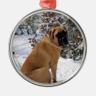 """Ornement Rond Argenté Photo anglaise de """"pose de neige"""" de chien de"""