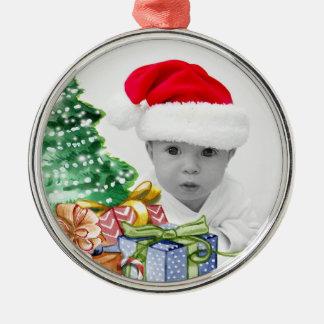 Ornement Rond Argenté Photo de coutume d'art d'arbre de Noël
