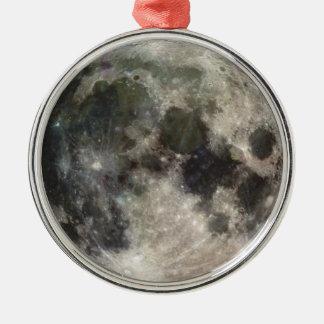 Ornement Rond Argenté Photo de la pleine Lune