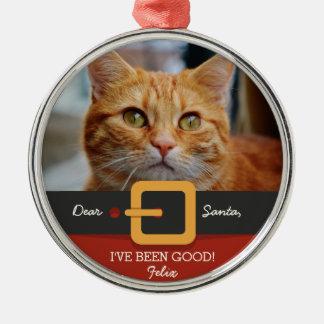 Ornement Rond Argenté Photo drôle de chat de Père Noël de Noël et