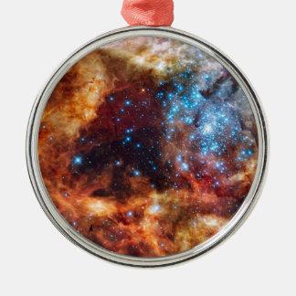 Ornement Rond Argenté Photo stellaire de la NASA de nébuleuse de