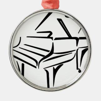 Ornement Rond Argenté Piano stylisé