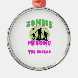 Ornement Rond Argenté Pièce en t de Halloween de zombi