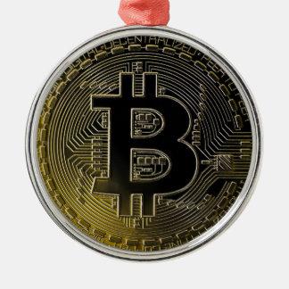Ornement Rond Argenté Pièces de monnaie de Bitcoin