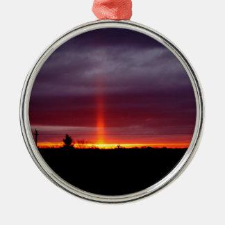 Ornement Rond Argenté Pilier du feu au coucher du soleil, île de St