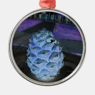 Ornement Rond Argenté Pinefruit de Noël