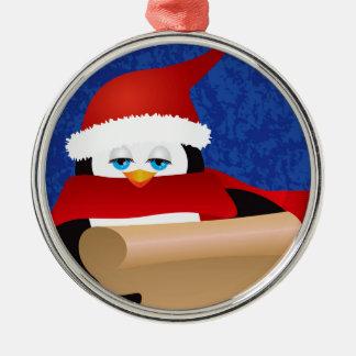Ornement Rond Argenté Pingouin Père Noël tenant l'illustration de