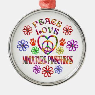 Ornement Rond Argenté Pinschers miniatures d'amour de paix